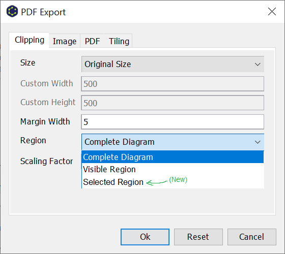 Export selected region as PDF
