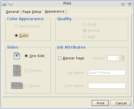 Eg My Printers Print Dialog Has Three Tabs General Page Setup And Appearance The Third Tab Provides Option To Select Color